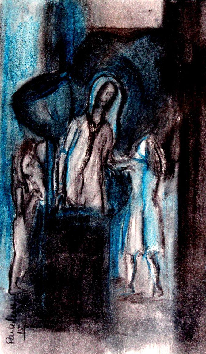 """Ilustração feita para o texto """"Coração que educa não Caduca"""", escrito por Ana Catarina Cruz"""" para o magazine Mais Opinião. Tinta sobre papel"""