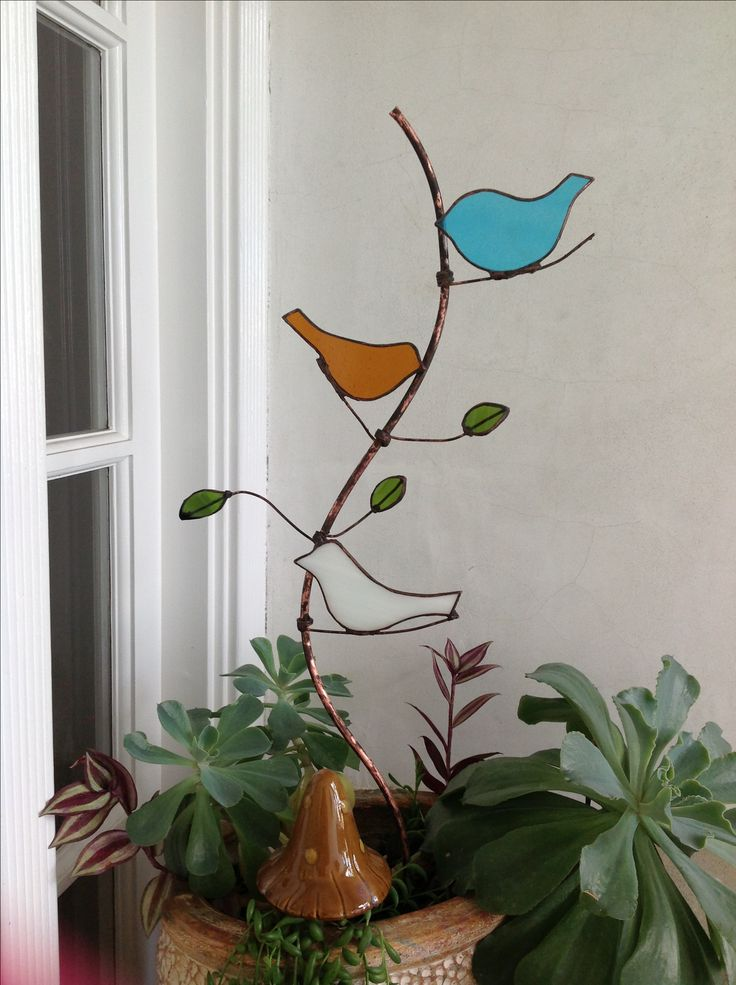 beautiful Stained glass garden stake