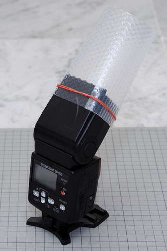 DIY Flash Diffuser - bounce flash oriented