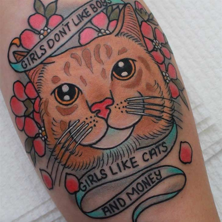 26 Perfect Cat Tattoos That Get Popular Recently On The Internet - 11