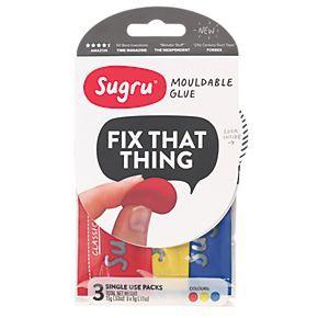 Sugru Mouldable Glue Multicolour 3 Pack | Putty | Screwfix.com