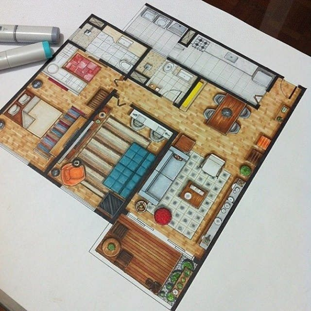 17 best ideas about floor plan drawing on pinterest tiny for Plan rendering ideas