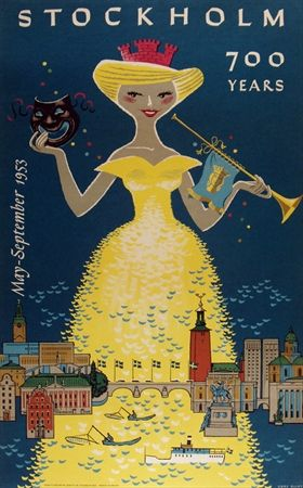 1953 Stockholm, Sweden vintage travel poster  700 years