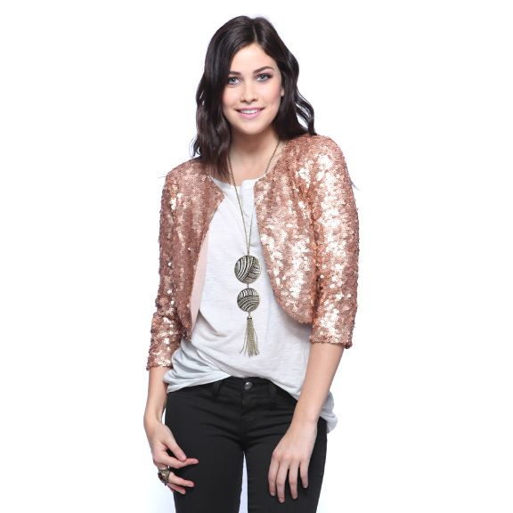 Sequin jacket.Ears Fashion, Fashion Ideas, Crop Sequins, Saia Mini-Sequins, Sequins Jackets What, Crop Jackets, Style Pinboard, Fashion Technology, Rose Gold
