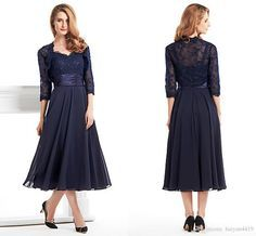 2016 Vintage Mother of the Bride Dresses Sweetheart Navy Blue Chiffon Lace Appliques Plus Size Tea Length Wedding Guest Gowns With Jacket Online with $109.55/Piece on Haiyan4419's Store | DHgate.com
