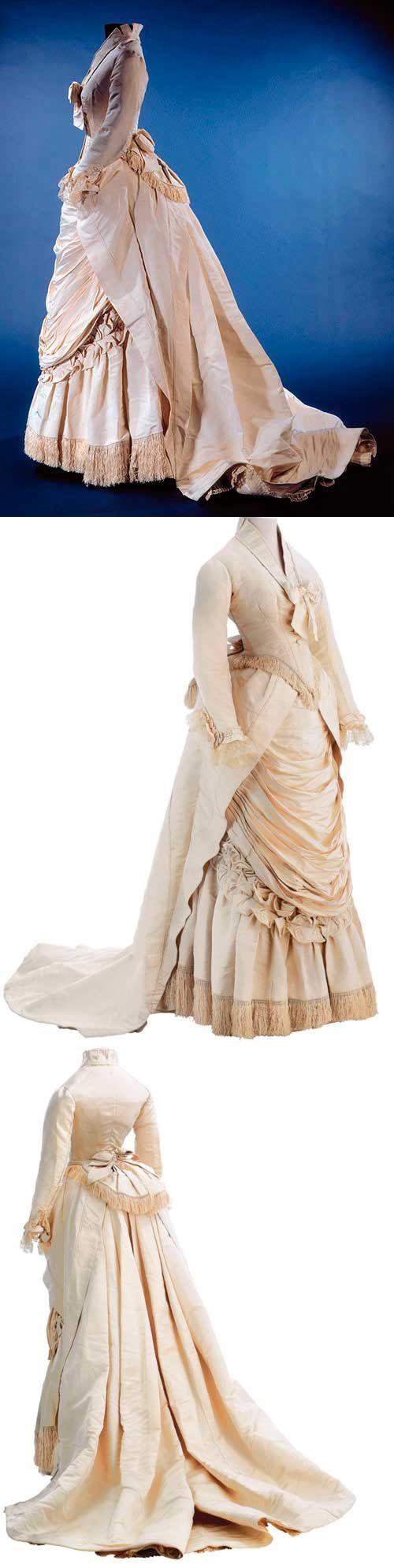 Worth gown, 1875-76. Ivory silk Tour de Gros.
