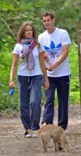 ANDY MURRAY has laughs and hugs with girlfriend KIM SEARS a few days before Wimbledon starts whilst out on a dog walk near his Surrey home.Pic: TillenDove 18/6/10