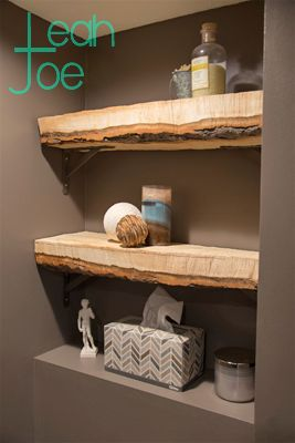 Super simple shelves. Rustic-looking wood shelving with industrial brackets for the win. More DIY's at www.LeahandJoe.com