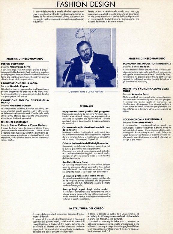 1987 - Presentazione del corso di Fashion Design tenuto da Gianfranco Ferré alla Domus Academy