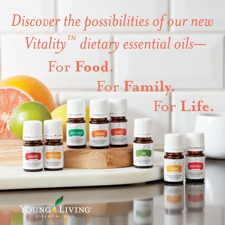 Discover the possibilities of Young Living's new Vitality dietary essential oils. ~ For food. For family. For life. ~ Learn more.