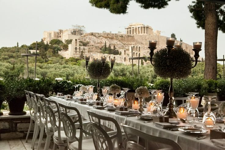 Under the breathtaking view of the Acropolis...this wedding couldn't be more elegant!