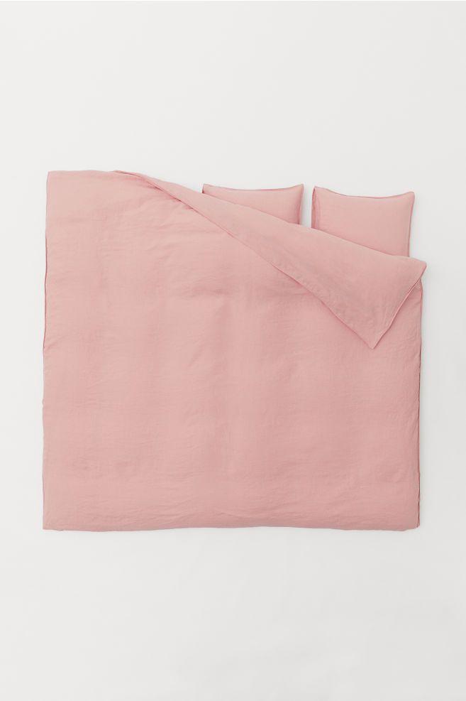 Washed Linen Duvet Cover Set Dusky Pink Home All H M Us Duvet Cover Sets Washed Linen Duvet Cover Linen Duvet