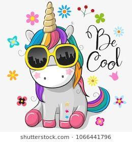 Cute Cartoon Cute unicorn with sun glasses