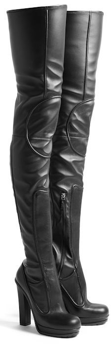 Versus by Versace Thigh High Leather Boots-oh yes! The hubbs would love me to wear these!