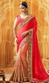 Peach and Pink Color Georgette Chiffon Half N Half Sari #hyderabaddesignersarees #designersareeschennai Surround yourself with endless compliments with this peach and pink color georgette chiffon half n half sari. The resham, bead, lace and stones work appears chic and aspiration for any party. Upon request we can make round front/back neck and short 6 inches sleeves regular saree blouse also. USD $ 145 (Around £ 100 & Euro 110)