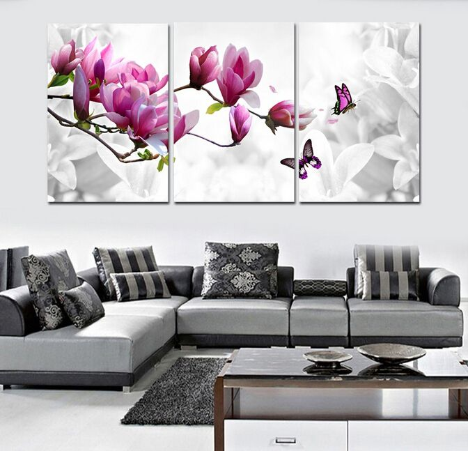 ==> [Free Shipping] Buy Best Elegant 3PCS Canvas Modern Wall Painting Purple Pink Blue Flower Home Decoration Art Picture Paint on Canvas Prints Online with LOWEST Price | 32797735629