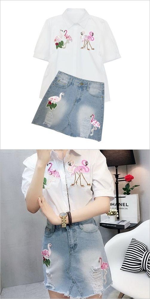 520628a245 Women s Pink Flamingo 2pcs Summer Skirt Blouse Set