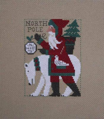 2017 Schooler Santa cross stitch pattern by Prairie Schooler at thecottageneedle.com December Christmas polar bear North Pole by thecottageneedle