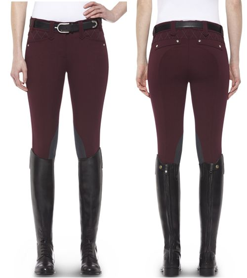 Ariat® Heritage Fashion Quilted Knee Patch Breech in Mulled Wine...I absolutely LOVE these breeches. They're a different color than you normally see, and I think they wouldn't show all of the horse slobber as well :)))