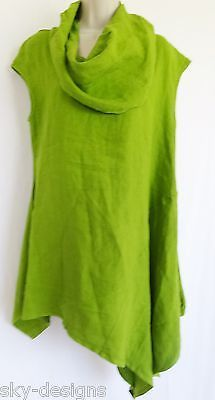 Bryn Walker Noa Tunic Dress Flax Linen Asymmetrical Top Kiwi Green XL New $118 | eBay