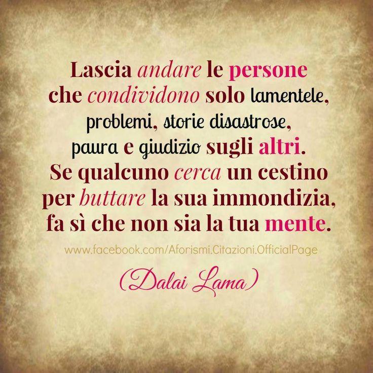 Lascia andare persone che condividono solo lamentee, problemi, storie disastrose, paura e giudizio sugli altri. Se qualcuno cerca un cestino per buttare la sua immondizia, fa si che non sia la tua mente.