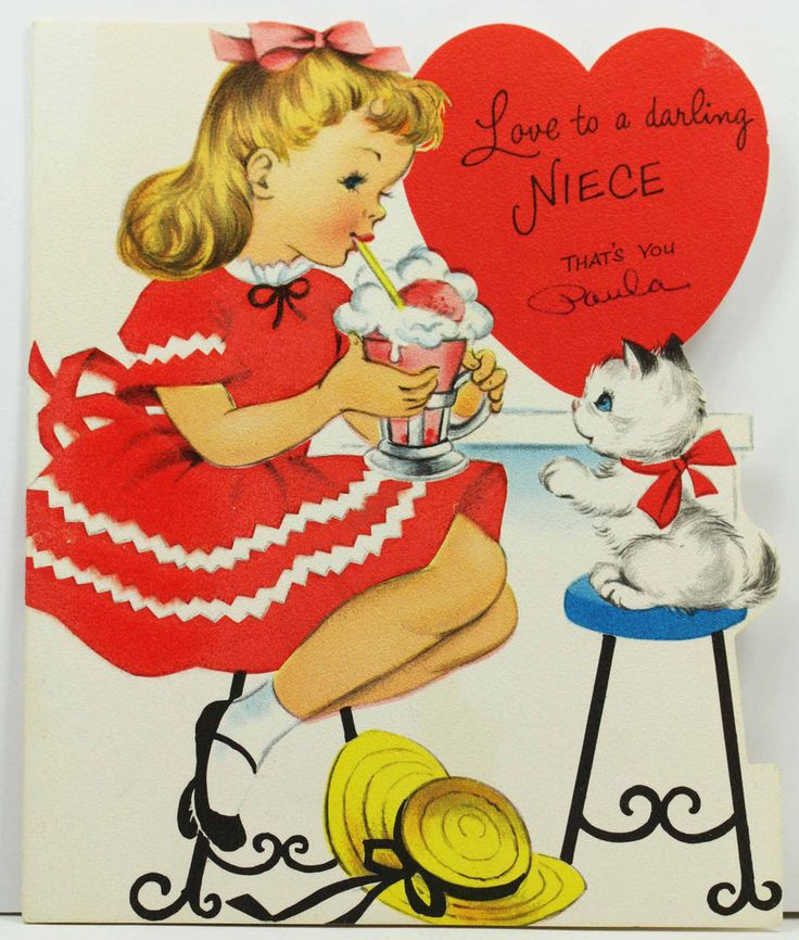 Vintage Valentine Greeting Card NORCROSS Niece Flocked Girl Ice Cream Parlor