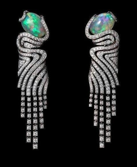 Dripping splendor... #Opal and #diamond #earrings via @Cartier It's so wonderful to see the design and materials and put on my wish list...