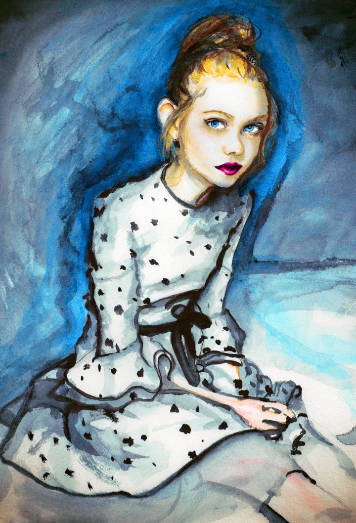 Artist Danny Roberts Painting of Actress elle fanning for her editorial with interview magazine  Igor+Andre