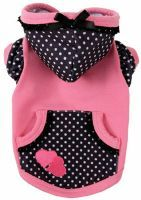 The Ruff Ruff Couture® Lucy Hoodie combines black and white polka dots  with pink for a whimsical treat.  Trimmed with black lace and finished  with a double pink heart appliqué, this darling hoodie features a  working pocket and convenient leash hole. Proudly made in the U.S.A.