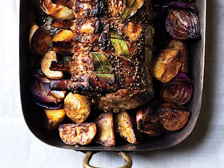 Cider brined pork roast         Cider-Brined Pork Roast with Potatoes and Onions Recipe    Epicurious.com