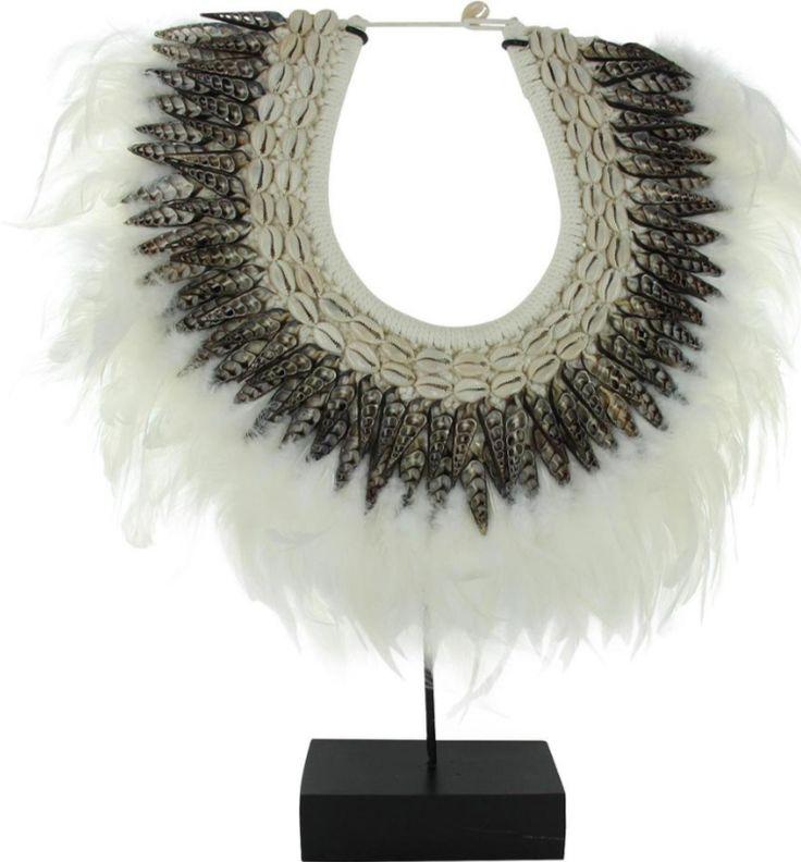 Papua necklace wit - Haal de puurheid van Afrika in huis! - Goossens wonen & slapen