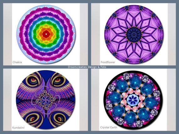 Mousepad mandala design- choose your favorite design: Chakra - Frostflower - Kundalini - Crystal Earth  This mousepad brings colour in your home,