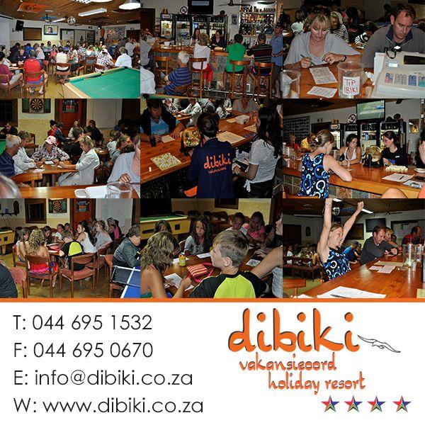 Dibiki Bingo Competitions Die Bingo aande by Dibiki sorg vir ure se pret. Bingo nights at Dibiki provide hours of fun. #hartenbos, #activities, #holiday