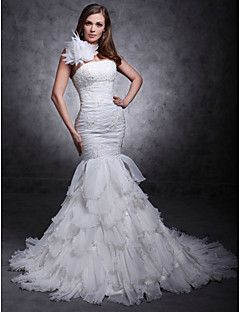 Fit and Flare One Shouler Court Train Organza Tiered Wedding... – USD $ 199.99