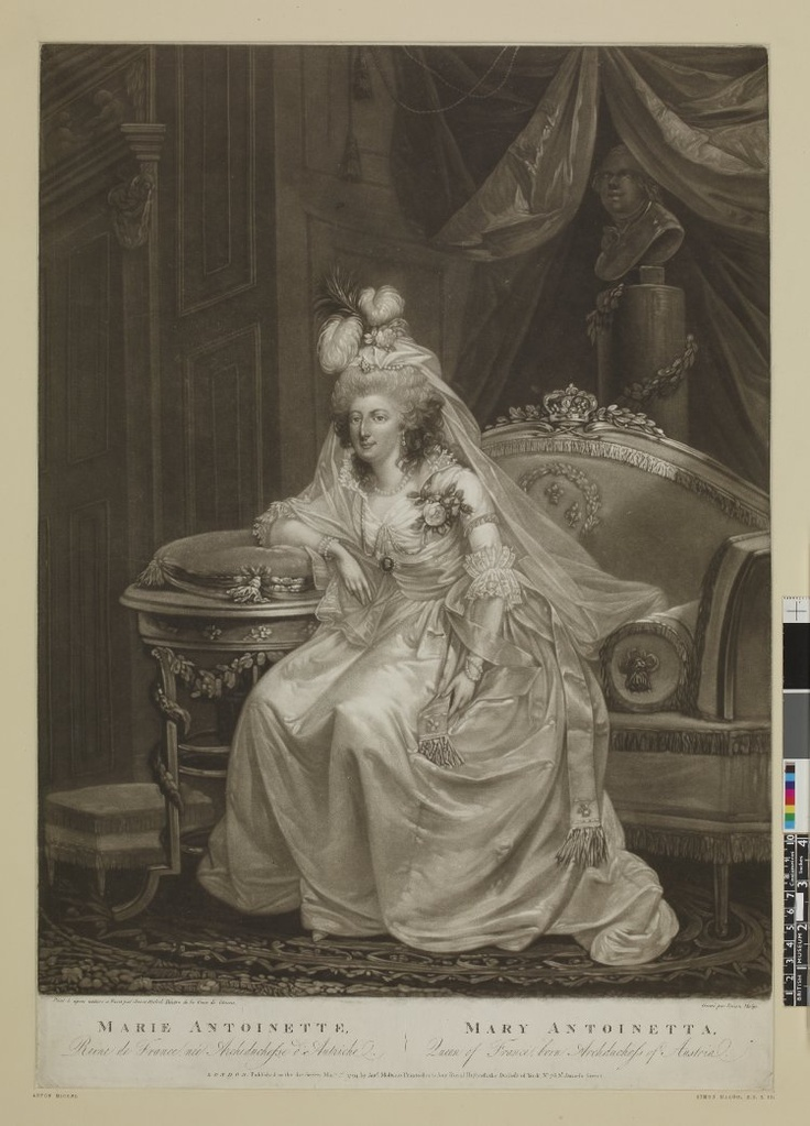 Portrait de Marie Antoinette, 1er Mai 1794, Mezzotint
