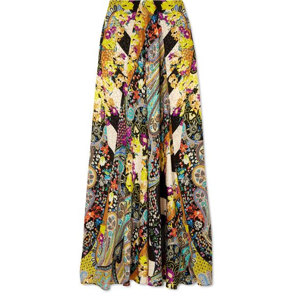 Etro Printed silk-jacquard maxi skirt (€1.425) ❤ liked on Polyvore featuring skirts, yellow, long yellow skirt, silk maxi skirts, yellow maxi skirt, paisley maxi skirt and leopard maxi skirt