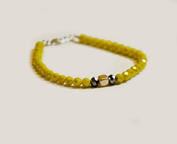 Yellow beaded Bracelet with tube pearl by amourose on Etsy, $9.99