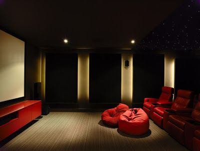 Fascinating Mini Theater in Project Canny Sackvillew with Red Cabinets, the Red Chairs and Red Cushions