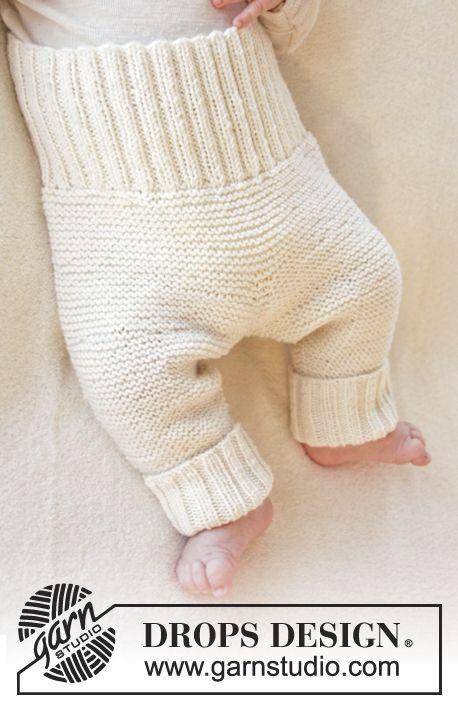 """Pantalon DROPS au point mousse, en """"Baby Merino"""". Taille préma à 4 ans. ~ DROPS Design"""