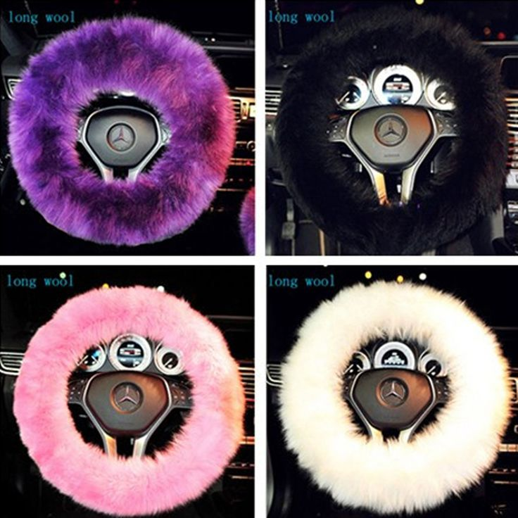 1 Piece New Fashion Car Accessory Long 100% Woolen Sheep Fur Plush Steering Wheel Cover Woolen Soft Black\Purple\White\Red\Pink