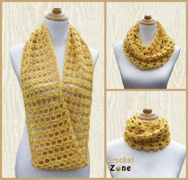 Butterscotch Cowl - Free Crochet Pattern by MA Santos / Crochet Zone. Dk yarn, 5.5mm hook.