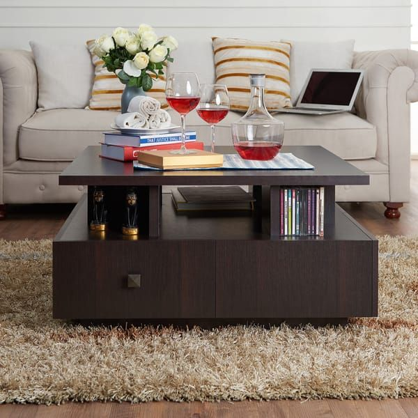Furniture Of America Terrenal Tiered Espresso 4 Drawer Coffee