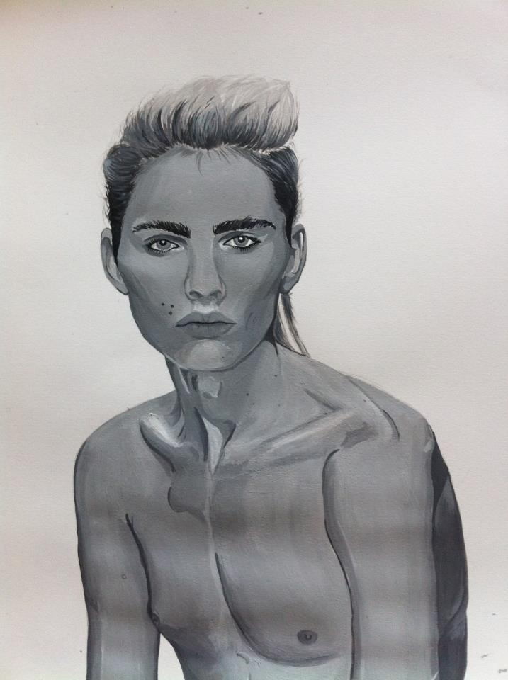 andrej pejic acrylic portrait