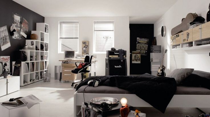 Kids Room: Awesome Bedroom Designs For Teenage Boys Who Desire In Music With Grey Black White Themed Packaged With Modern Bed Floating Cabinet White Bookshelves Wooden Working Desk With Modern Chairs: Boys Bedroom Decor With Stunning Display