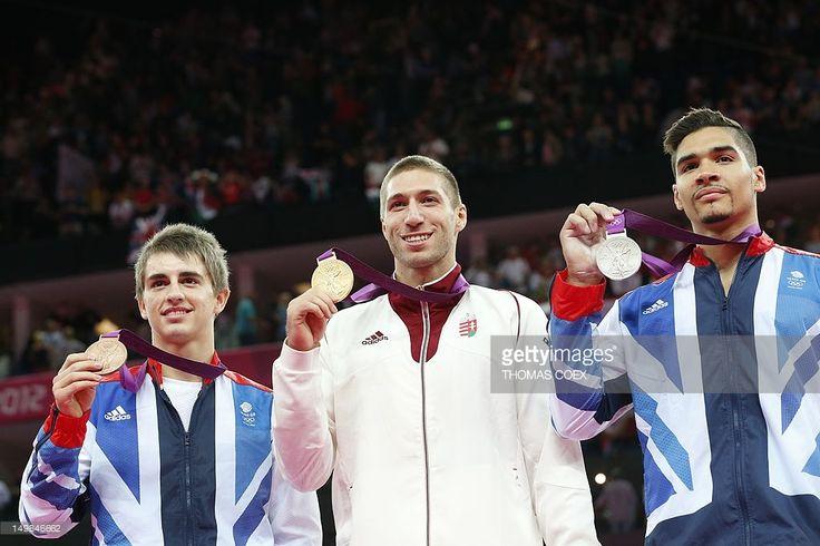 Krisztián Berki (🇭🇺), Louis Smith (🇬🇧), and Max Whitlock (🇬🇧)  Pommel Horse  2012 London 🇬🇧
