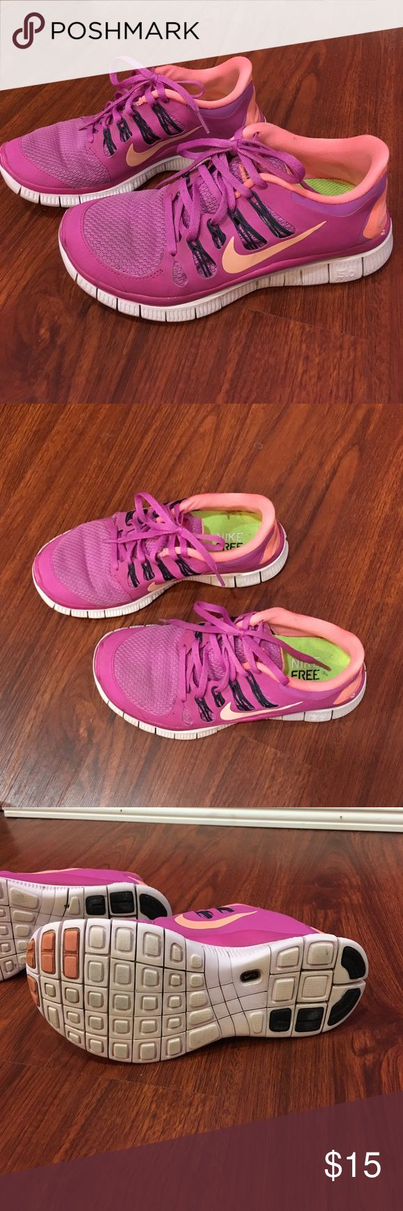 Nike Free 5.0 Pink Running Shoes Super cute and in good condition. Runs small. Size 6 1/2 fits like a Size 6. Nike Shoes Sneakers