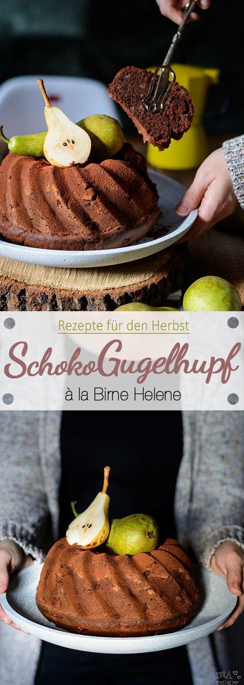 Schoko-Gugelhupf à la Birne Helene. Ein tolles Rezept für den Herbst. Luftig, saftig und durch die kleinen Birnenstückchen mit einer feinen fruchtigen Note.