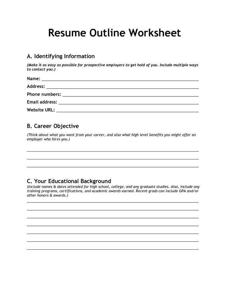 Resume Worksheet Template  Resume Worksheet For High School Students