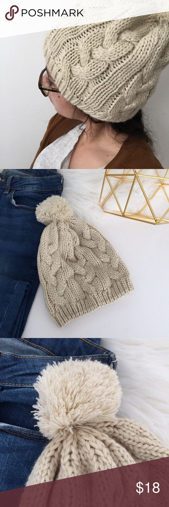 NWOT Cream beanie Only been worn to take picture New without tag Has a pom pom on top  Prefect for this winter   ❗️offers welcome ❗️ Accessories Hats
