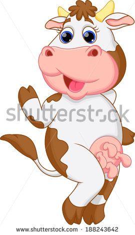Funny cow cartoon - stock photo